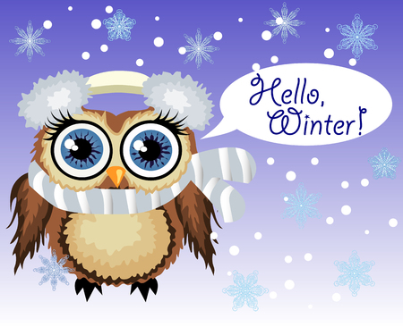 little cute owl fluffy, soft headphones with cold and scarf says Hello winter 向量圖像