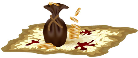 A pirate old map on a yellow parchment with blood stains, standing on it with coins and a leather bag, encrypted messages Illustration