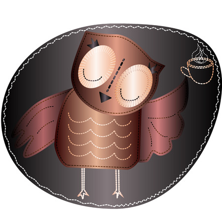 The owl is holding a cup of hot coffee. Imitation of stripe, fabric and stitching, seam, pattern with volume effect