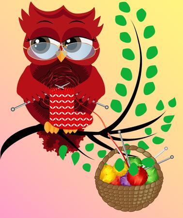 Un hibou flirt rouge à lunettes est assis sur une branche et tricote une chaussette rouge et blanche pour Noël. Un panier de boules colorées est suspendu à une branche.