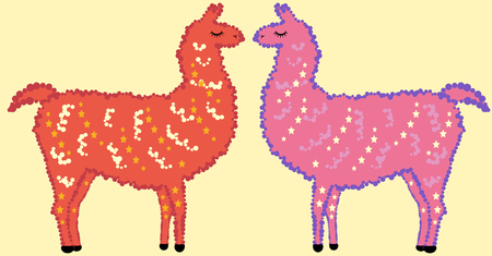A pair of cute Designer Llama, alpaca of red, pink, with fur, stars and eyes closed