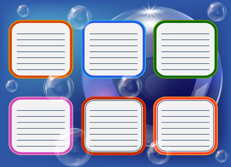 Timetable for six days on a blue background with soap bubbles, scheduler