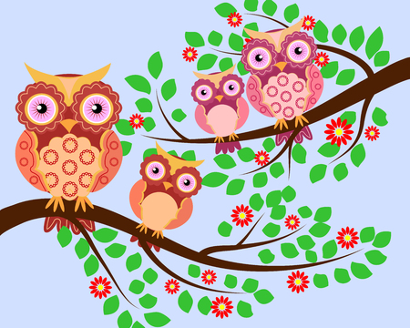 Set of multi-colored pairs of owls mom and baby sitting on the branches Illustration