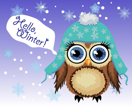 little cute owl fluffy, in a blue hat with a pompon says Hello winter 向量圖像