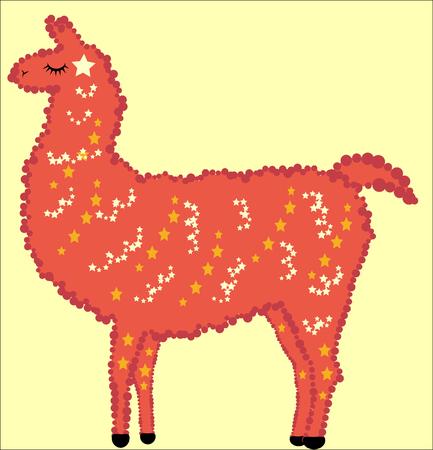 Pretty Design Llama, alpaca red, fur, stars and eyes closed