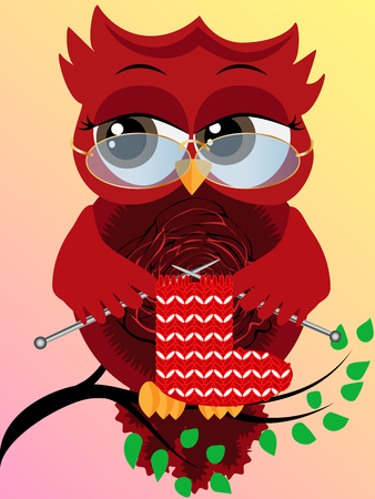 A red flirtatious owl in glasses sits on a branch and knits a red and white sock for Christmas. Illustration