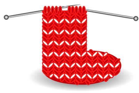 Red and white Christmas sock on needles for the holidays. Illustration