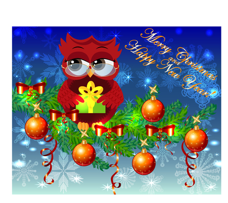 A sweet cartoon-like coquettish red owl with a Christmas present sits on a decorated with balls, bows, light-emitting spruce branches. Christmas card