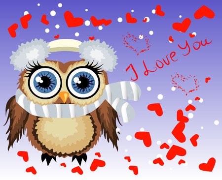 Lovely cartoon brown owl surrounded by hearts