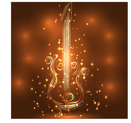 Elegant golden guitar outline glowing with music notes.