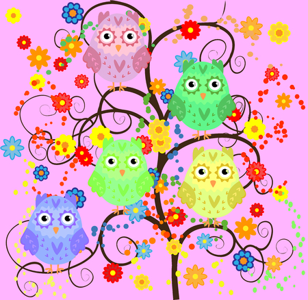 Bright cute cartoon owls sitting on flowering branches.