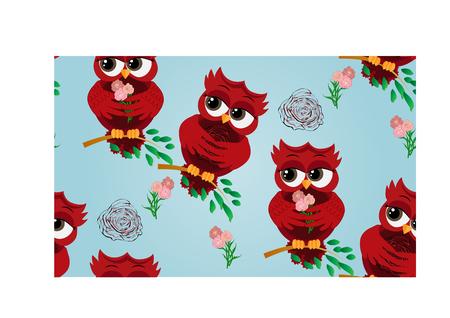 Seamless pattern of flirtatious red owl on a branch. Çizim