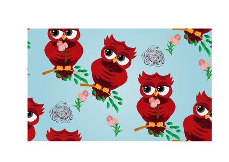 Seamless pattern of flirtatious red owl on a branch. Illustration