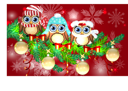 three owls in different outfits with christmas decorations stock vector 90852187