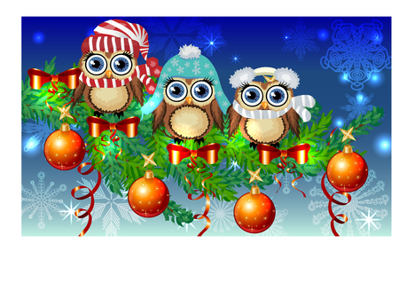Three owls in different outfits with Christmas decorations.