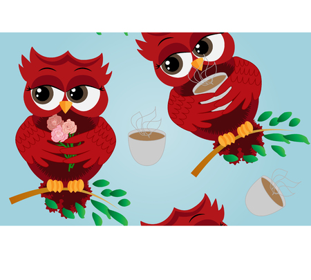 Cute beautiful flirtatious red owl on a branch