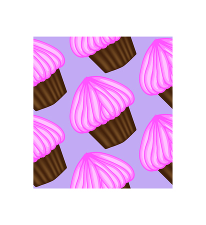Pattern of appetizing cupcakes with pink cream
