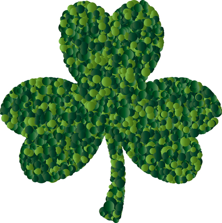 St. Patrick card with green clover leaf consisting of circles Illustration