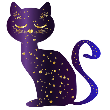 Cat silhouettes painted with a night sky with stars