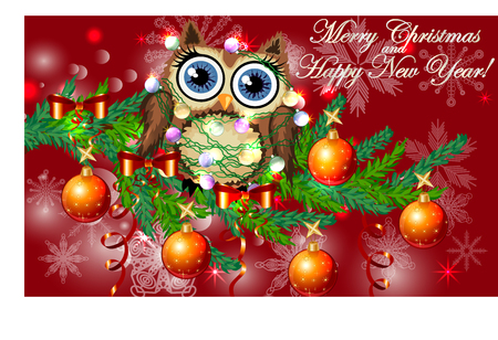 Lovely cartoon owl tangled in a garland of glowing light bulbs on a spruce branch decorated with balls, garlands. Christmas card Illustration
