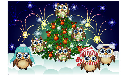 lovely brown owls in caps,scarves,warm headphones,entangled in the New Years glowing garland around the decorated with balls and the lights of a green Christmas tree against the background of salute Illustration