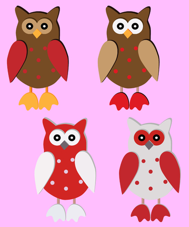 Four wooden owl-pendants in red, brown, white colors Illustration