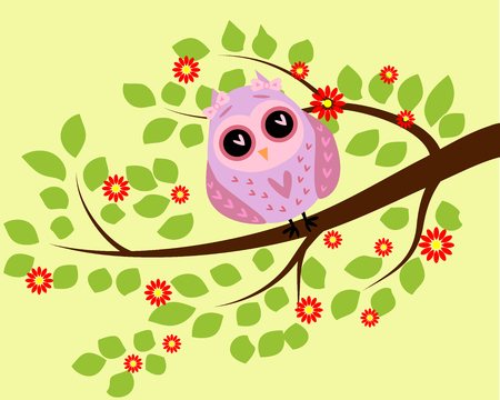 Bright cute cartoon owl sitting on the flowering branches of fantastic trees