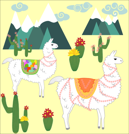 Two Llama, alpaca of white color, with bright saddles on the background of mountains, cacti, clouds