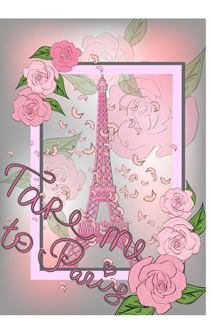 Vintage france poster design romantic background with eiffel tower and roses inscription take me to paris