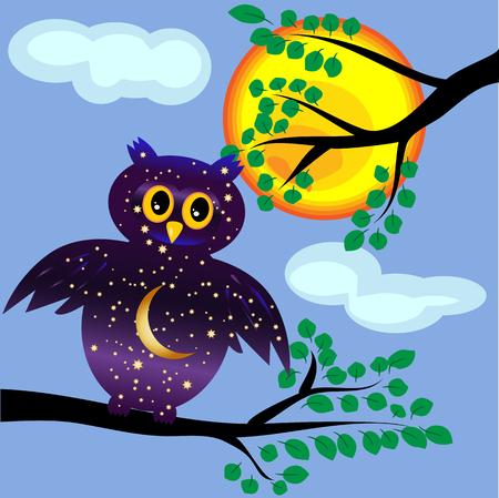 フクロウのコンセプトデーは夜空の着色、星、太陽を背景に枝の上の月