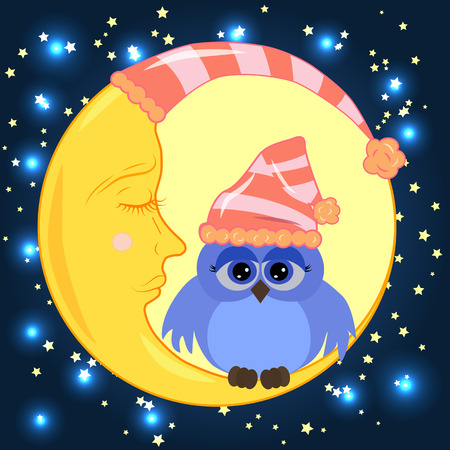 A sweet cartoon owl with sad eyes on a sleeping cap sits on a drowsy crescent moon against the background of a night sky with stars Illustration
