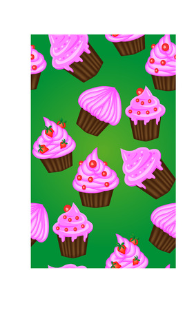 Seamless pattern of appetizing cupcakes with pink cream Stock Vector - 91042818
