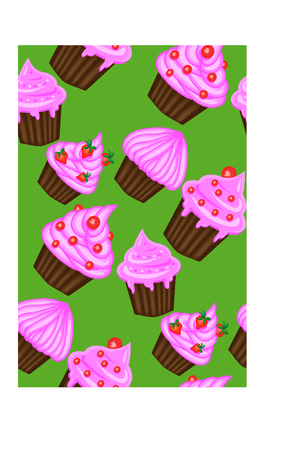 Pattern of appetizing cupcakes with pink cream.