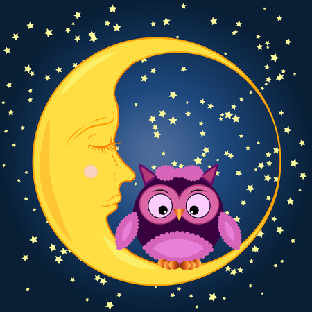 Cute cartoon owl sitting on a round dormant crescent moon. Ilustrace