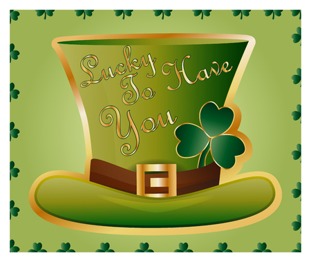 Greeting card of St. Patrick with sparkling green hat and leaves of a clover.
