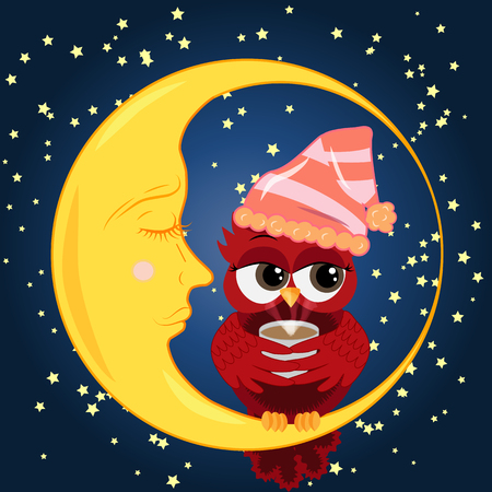Cute cartoon owl coquettish red with a cup of coffee in the bell for sleep sitting dormant on the crescent against the night sky with stars