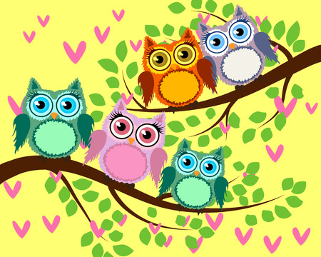 Bright cute cartoon owls sit on the flowering branches of fantastic trees