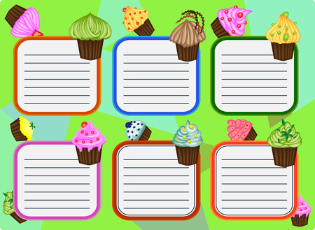 Six-day timetable on a multi-colored background with cupcakes, for writing recipes, cookbook