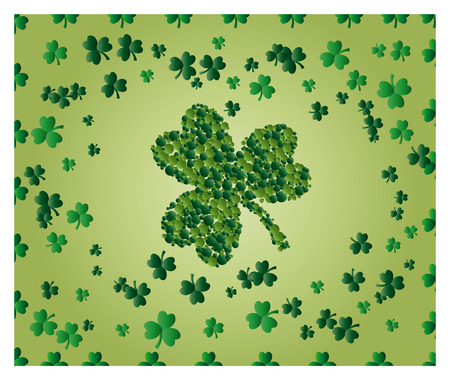 Greeting card of St. Patrick with sparkling green leaves of clover, and with green clover leaf consisting of circles Illustration