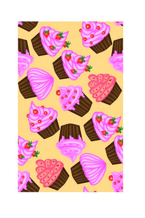 Seamless pattern of appetizing cupcakes with pink cream