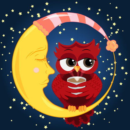 Cute cartoon owl coquettish red with a cup of coffee sitting dormant on the crescent against the night sky with stars
