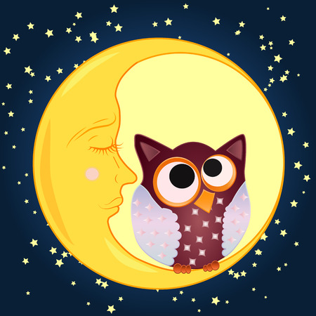 A sweet cartoon owl, with eyes drawn to the middle, sits on a drowsy crescent moon against the background of the night sky with stars Illustration