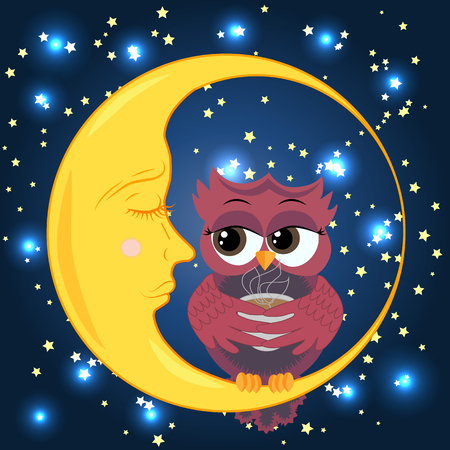 Cute cartoon owl coquettish with a cup of coffee sitting on a crescent moon dormant in the night sky with stars