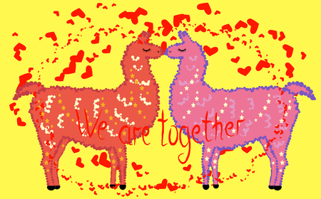 Two lovers, kissing llamas surrounded by hearts. Love is in the air. The inscription We are together, postcard, Valentines day