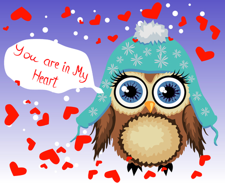 Lovely cartoon brown owl surrounded by hearts.