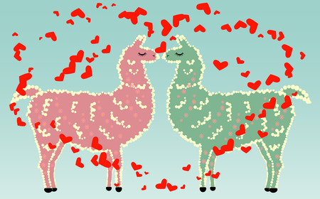 Two lovers llamas surrounded by hearts.