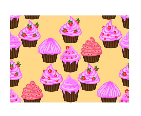 Pattern of cupcakes with pink cream.