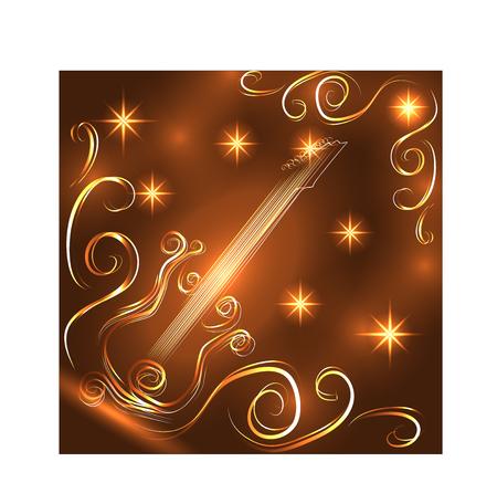 Elegant golden guitar outline, glowing on a dark background, neon effect, music, notes. Illustration