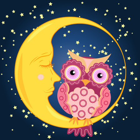 Cute cartoon pink owl with a circular pattern on the wings and the body sits on the slumbering crescent moon.
