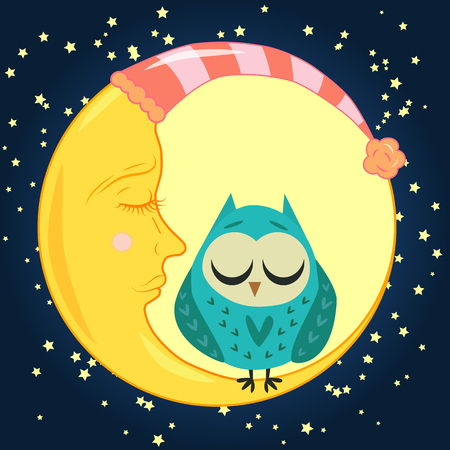 Moon and owl icon.